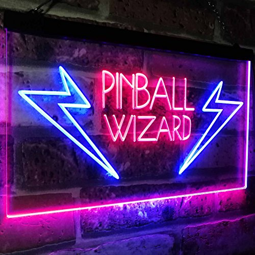 AdvpPro 2C Pinball Wizard Game Room Display Bar Beer Club Dual Color LED Neon Sign Blue & Red 12'' x 8.5'' st6s32-i2797-br by AdvpPro 2C (Image #3)