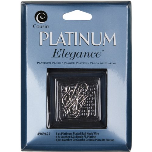 Cousin Jewelry Basics Platinum Plate Ball Hook Wire, 8-Piece