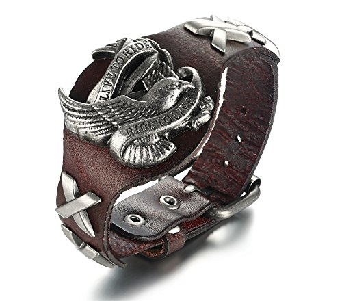 (XUANPAI Genuine Leather Wide Belt Buckle Bracelet American Eagle Punk Rock Wristband for Biker,Adjustable)