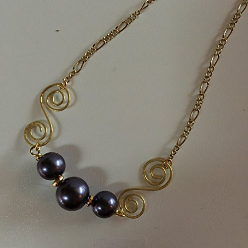 modern threesome pearl necklace - swirl connector with Indigo pearls (Connector Swirl)
