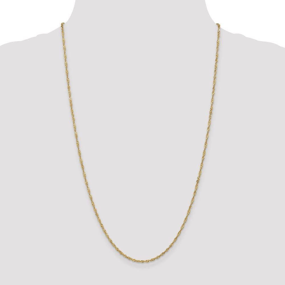 Diamond2Deal 14k Yellow Gold 1.70mm Singapore Chain Anklet Fine Jewelry Ideal Gifts For Women