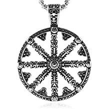 HZMAN Mens Stainless Steel Dharma chakra Pendant Dharma Wheel of Law Buddhist Symbol Necklace