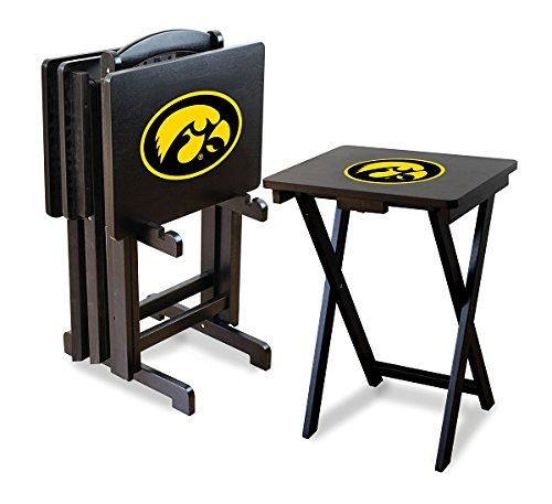 Iowa Hawkeyes NCAA TV Snack Trays With Stand by Team Bar Stools
