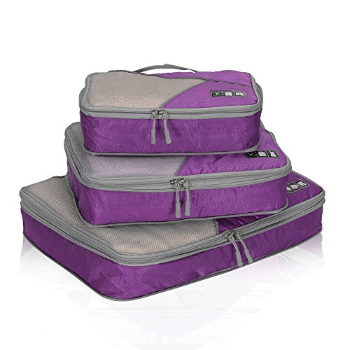 Hynes Eagle Travel Compression Packing Cubes Expandable Packing Organizer 3 Pieces Set Purple ()