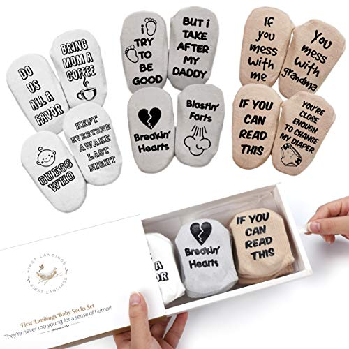 First Landings Baby Socks Set | Adorable Quotes, 6 Pairs and Gift Packaging | Best Gender Neutral Baby Gifts | Funny Baby Shower Gift for Boys or Girls