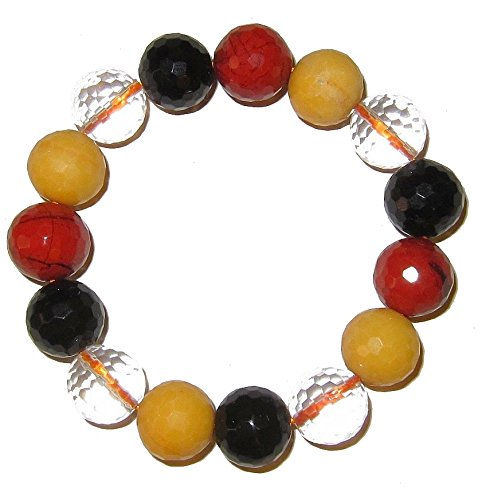 Polished Faceted Clear Quartz Crystal (Crystal Bracelet 01 Stretch 13mm Faceted Clear Quartz, Black Onyx, Red & Yellow Jasper Stones (Gift Box) (6.25 Inches))