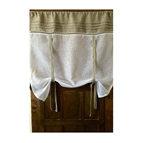 Custom Roll Up Curtain Natural Beige Flax Linen White Sheer Curtain up to 42″ wide