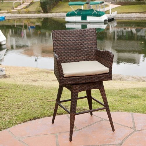 NEW Outdoor Patio Furniture All-Weather Brown PE Wicker Swivel Bar Stool w/ Cushion (Italian Outdoor Furniture Manufacturers)