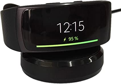 Kissmart Replacement Gear Fit 2 Charger, Charging Dock Cradle for Samsung Gear Fit 2 SM-R360 Smart Watch (Black) (Black)
