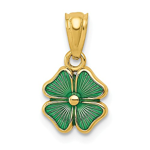 14k Yellow Gold Green Enameled Four Leaf Clover Pendant Charm Necklace Celtic Claddagh Fine Jewelry Gifts For Women For Her ()