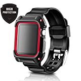 Apple Watch Band 42mm Case Black Red. Sport Accessories for men and women. Durable Protective Case save your Apple Watch Black / Silver 42mm. Apple watch band 42mm Case Black Red for Series 1/2/3