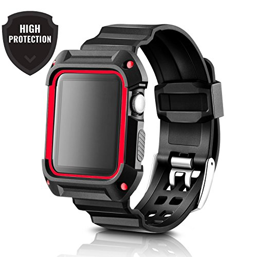 Apple Watch Band 42mm Case Black Red. Sport Accessories for men and women. Durable Protective Case save your Apple Watch Black / Silver 42mm. Apple watch band 42mm Case Black Red for Series 1/2/3 by Casual Accessories