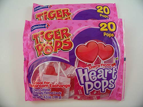 20 Tiger Pops Cherry Flavor Heart Pops Candy Suckers-2 Bags,6.3 oz each