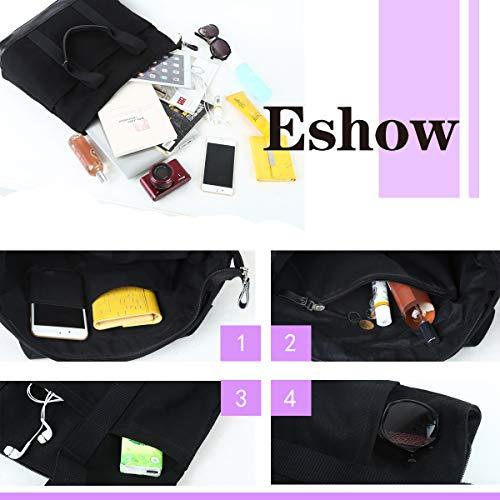 Toile à Sac Bandouliere Grande Sac Sac Noir à capacité l'épaule Main Femme avec Eshow élégant Snaqtx