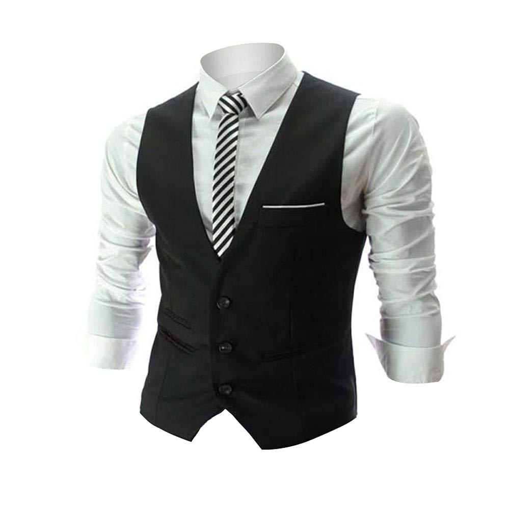 Zicac Men's Top Designed Casual Slim Fit Skinny dress Vest Waistcoat (M,Black)