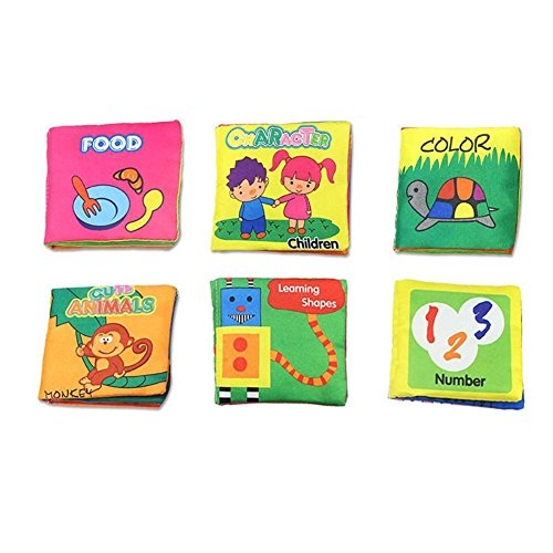Non-Toxic Soft Cover Cloth Book for Babies & Toddlers , Fabric Activity Crinkly Books ,Educational Toy ,Baby Shower Gift for Boy & Girl,Set of 6 - Animals Cloth Books