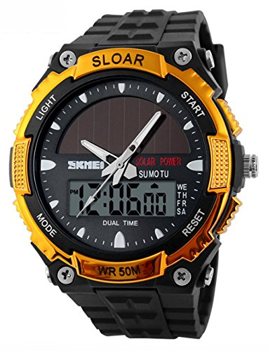 WUTONYU174; Solar Watch Fashion Electronic Double Display Waterproof Outdoor Sports Watch (Gold) by WUTONYU