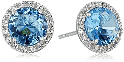 Sterling Silver Round Shape Simulated Aquamarine and Created White Sapphire Earrings