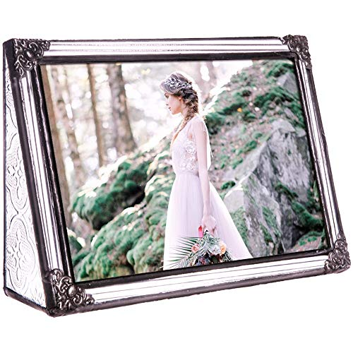J Devlin Pic 360-46H Vintage Clear Stained Glass Picture Frame Wedding Photo Frame Keepsake Gift Tabletop 4x6 Horizontal