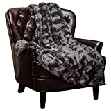 Chanasya Super Soft Warm Elegant Cozy Fuzzy Fur Fluffy Faux Fur with Sherpa Wave Shape Embossed Plush Dark Gray Microfiber Throw Blanket (50