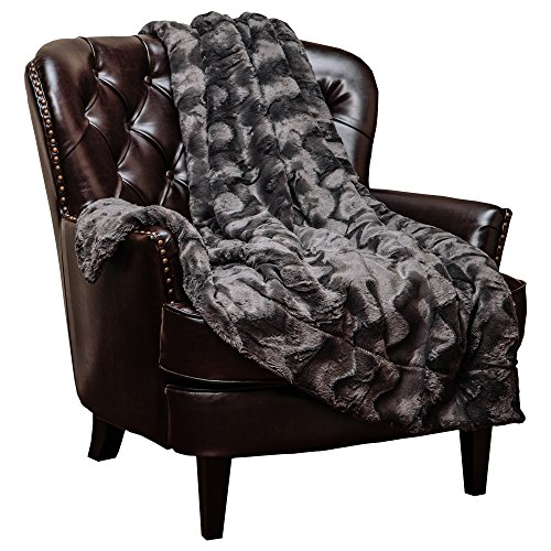 Neutral Light Pattern Earth (Chanasya Fur Throw Blanket for Bed Couch Chair Daybed - Soft Wave Embossed Pattern - Warm Elegant Fuzzy Fluffy Faux Fur Plush Suitable for Fall Winter Summer Spring (50