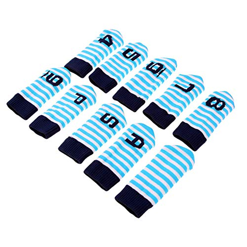 zzpopGG Protective Cover,10Pcs Knit Wool Golf Iron Wedge Protectors Headcovers Head Covers Accessories - Light Blue