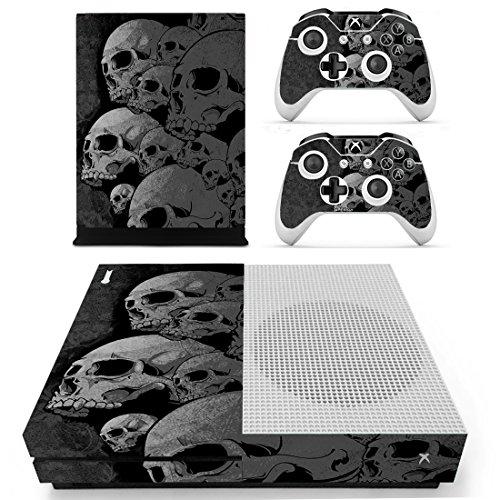 SKINOWN Xbox One S Slim Skin Grey Skull Sticker Vinly Decal