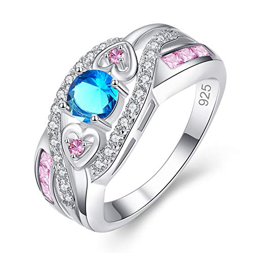 Metal Heart Fashion Ring (MEZETIHE Oval Heart Cut Design Wedding Engagement Ring Size 6 7 8 9 10 11 12 13 Women Ladies Rings Jewelry Gift (Blue, 7))