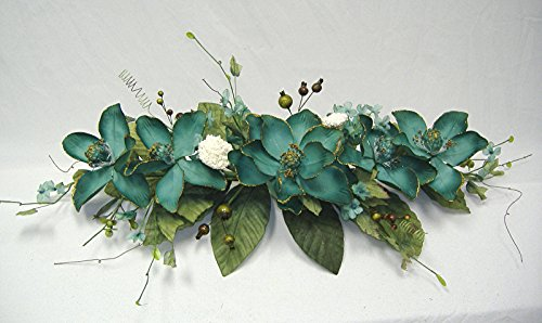 Wedding Flowers 2' Gold Trimmed Magnolia Dogwood Swag Silk Arch Home Party Decor (Green) ()