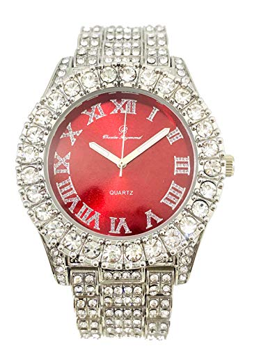 (Mens Silver Big Rocks Bezel Bloody-Red Dial with Roman Numerals Fully Iced Out Watch - Bloody Red/Silver- ST10327)