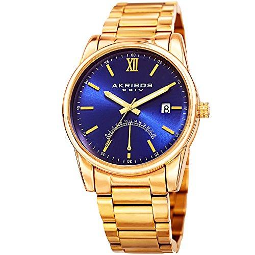 Akribos XXIV Men's Quartz Watch with Stainless-Steel Strap, Gold, 20 (Model: AK962YGBU) ()