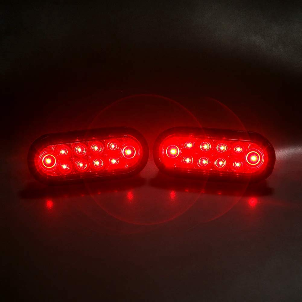 NOVALITE 2 pcs Dark Red 6 Inch Oval LED Brake Stop Turn Tail Lights Kit with Grommet and Plug for Trailer//Bus//RV DOT Certified