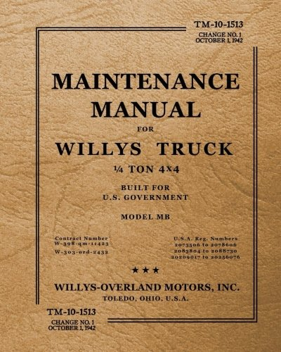 - TM-10-13-15 Maintenance Manual for Willys Truck 1/4 Ton 4x4: Change No. 1, October 1, 1942
