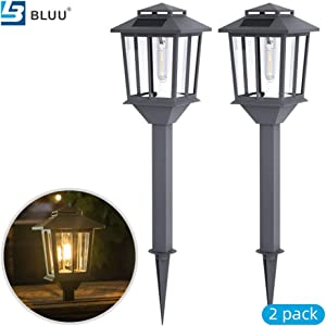 BLUU 2 Pack Solar Pathway Lights Outdoor, Aluminum Alloy Solar Path Garden Light Glass, IP 65 Waterproof Solar Landscape Lights with 3 Kinds Replaceable Light Source for Patio, Yard, Driveway