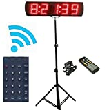GANXIN App-Control 5'' High 5 Digits LED Race Clock with Tripod for Running Events, Countdown/up Digital Timer, by Remote Control