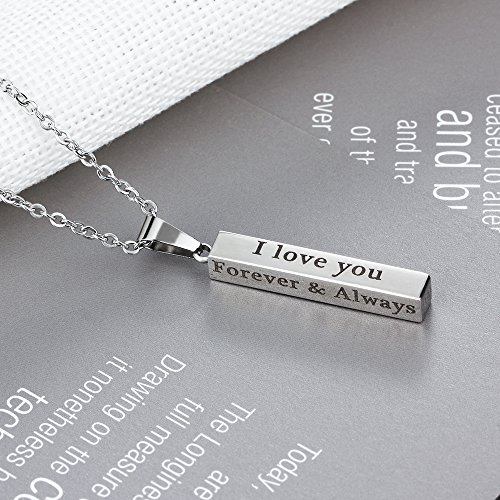 d5d37a0510 Love Jewelry Personalized Couple Stainless Steel Necklace Engraved Initial  Name Vertical Bar Necklace Birthday Gift