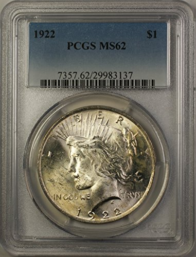 1922 Peace Silver Dollar Coin (ABR12-A) $1 MS-62 PCGS