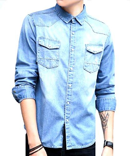Vska Mens Distressed Preppy Chic Slim Casual Textured Jean Shirt Light Blue - Blazer Mens Preppy