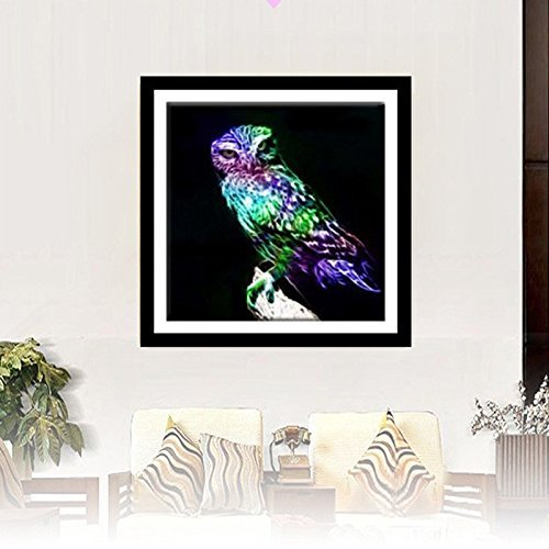 Zadaro DIY 5D Crystal Diamond Painting Embroidery Cross Crafts Stitch Kits Home Wall Decor (Owl In The Dark)
