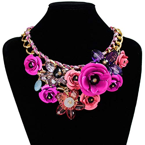 WuyiMC Weave Necklaces, Women's Rose Necklace Big Flower Crystal Flower Choker Statement Necklace (Purple) ()