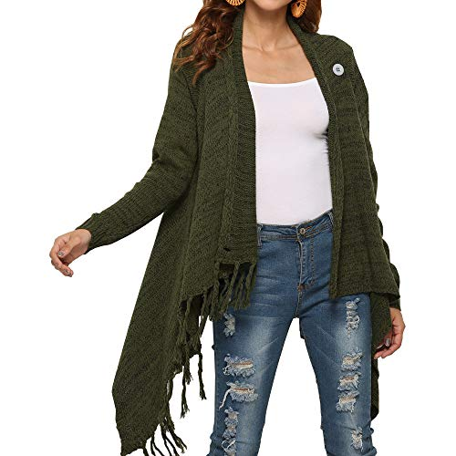 (Ladies Cable Knit Sweater with Fringe Striped Asymmetrical Elegant Long Cardigan Sweater Big 2 Wear Style Green L)