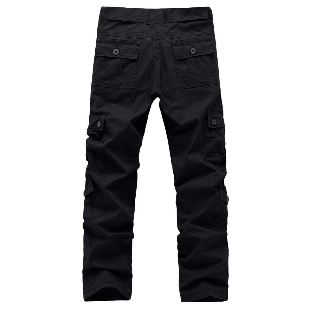 Realdo Clearance Fashion Army Trousers Multi-Pocket Combat Zipper Cargo Waist Work Casual Pants(38,Black) by Realdo (Image #2)