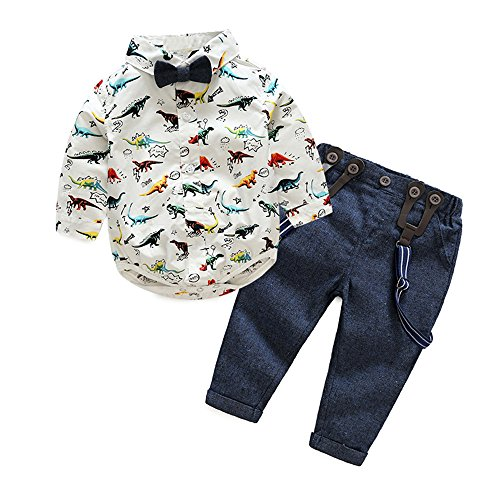 Tem Doger Gentleman Baby Boys Dinosaur Bowtie Romper Shirt Tops + Suspender Pants With Straps Clothing Set Outfit (70/0-6 Months) -