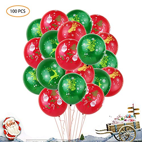XFUNY 100 Pieces Christmas Balloons Latex Balloons Xmas Decorations Mixed Assorted Balloons, 12 inch (Red & Green)