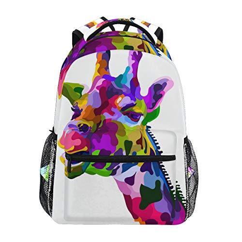 Tarity Colorful Giraffe School Backpack Small Travel Bag Students Bookbags Teenagers Casual Daypacks Stylish Print Durable Backpack Laptop Computer Bag For Kids Boys Girls - Bag Laptop Giraffe Print