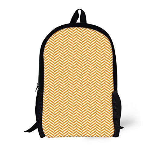 5579d2860bbdc Pinbeam Backpack Travel Daypack Orange Geometric Chevron Vintage  Herringbone Pattern Tweed Simple Waterproof School Bag
