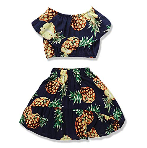 Newborn Baby Girl Clothes Summer Outfits Ruffled Pineapple Print Top +Loose Dress 2Pcs Clothes Set for Girls (Pineapple-Yellow, 18-24 Months)