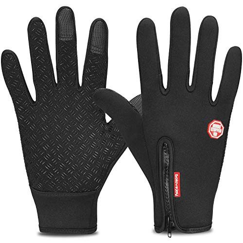 Yobenki Cycling Gloves, Touch Screen Gloves Waterproof Warm Gloves for Cycling, Running, Climbing and Winter Outdoor Sports Men & Women (Black-D, S)