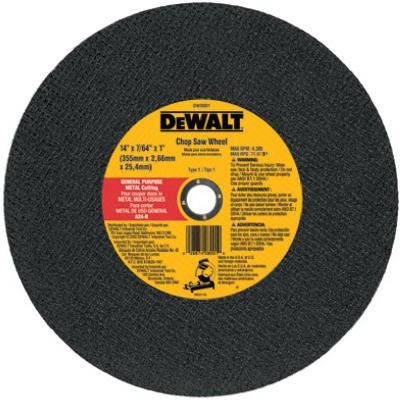 Dewalt Accessories DW8001 Chop Saw Wheel, Metal, 14-In. - Quantity 10