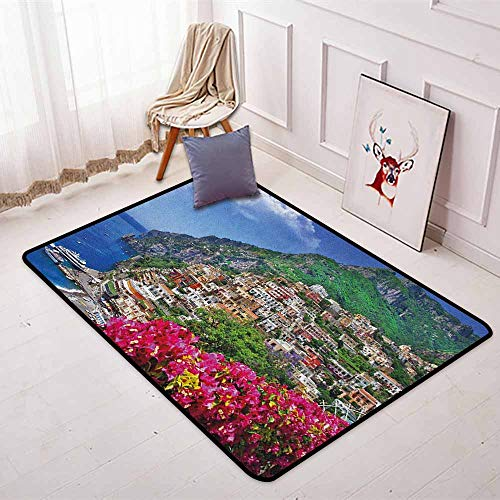 Italy Children's Bedroom Carpet Scenic View of Positano Amalfi Naples Blooming Flowers Coastal Village Image Soft Fluffy W47.2 x L59 Inch Pink Green Blue